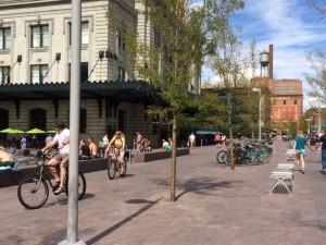 Happy bikers in downtown.