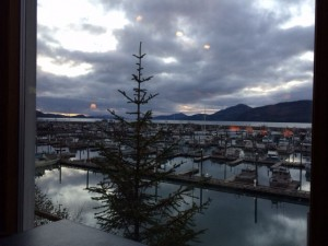 View of Cordova Harbor from my table at The Reluctant.